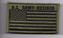 ARMY RETIRED OD FLAG 2 X 3  EMBROIDERED PATCH WITH HOOK LOOP - $23.74