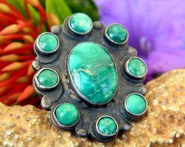 Vintage Turquoise Sterling Silver Cluster Ring 4 ½ Snake Southwestern - $194.00