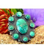Vintage Turquoise Sterling Silver Cluster Ring 4 ½ Snake Southwestern - £149.71 GBP