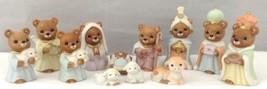 Homco Teddy Bear Nativity Set #5412 Manger Scene 12 Pc Shepherd Angel Ki... - $69.24