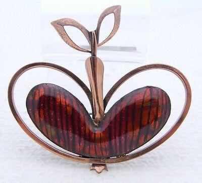 VTG MATISSE RENOIR Signed RARE Red Enamel APPLE Pin Brooch Earrings Set