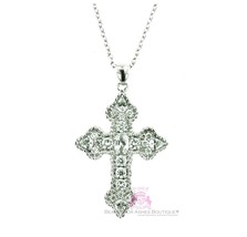 Stunning Girls/Womens Cubic Zirconia 925 Sterling Silver Cz Cross Chain Necklace - $85.75