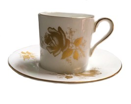 Antique Demitasse Cup And Saucer Gold Rose Royal Patrician English Bone China - $24.74