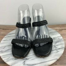 Cole Haan Womens Size 8.5AA Black Leather Woven Dual Straps Slide Heel Sandals - $29.95