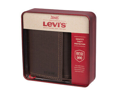 Levi's Men's Rfid Blocking Zipper Coin Credit Card ID Trifold Wallet Brown