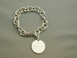 "Return To Tiffany Sterling Round Charm Bracelet 7.5"" ESTATE - $224.99"