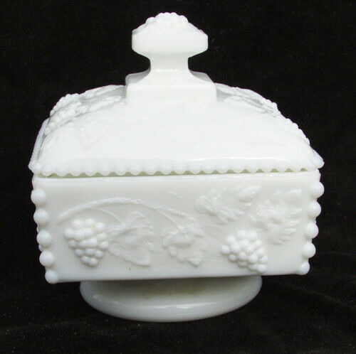 Westmoreland grape leaf candy dish pedestal base bead edge white glass square - $7.87