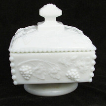 Westmoreland grape leaf candy dish pedestal base bead edge white glass square - $7.87