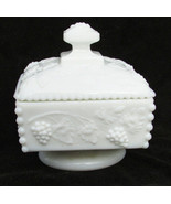 Westmoreland grape leaf candy dish pedestal base bead edge white glass square