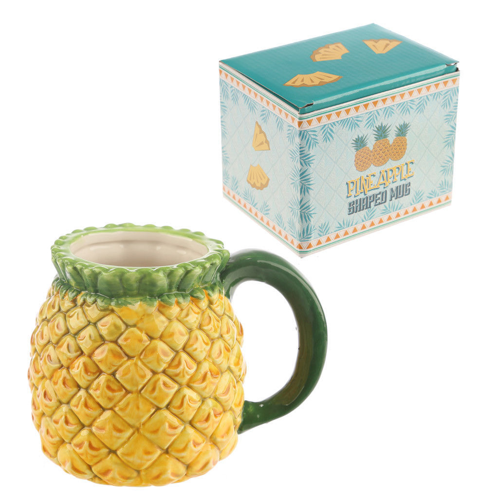 3D Pineapple Coffee Mug, Ceramic Fruit Design Tea Cup Juice Mug in Gift Box
