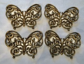 Butterfly Wall Hanging Art Decorating Plastic Gold Lot of Four - $19.79