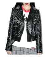 New Women Black Full Silver Spiked Studded Punk Rock Star Biker Leather Jacket - $279.99