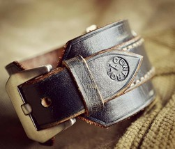 20mm Handmade vintage military leather watch strap watchband wristband h... - $163.35