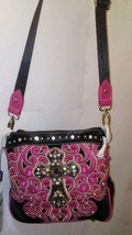 Montana West Cross Body Pink Western Purse with A Crystal Cros - $41.96