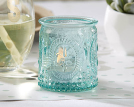 24 Vintage Embossed Aqua Blue Glass Tea Light Candle Holder Baby Shower ... - $74.05