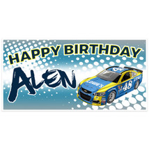 Blue  Race Car Birthday Banner Personalized Party Backdrop - $22.28