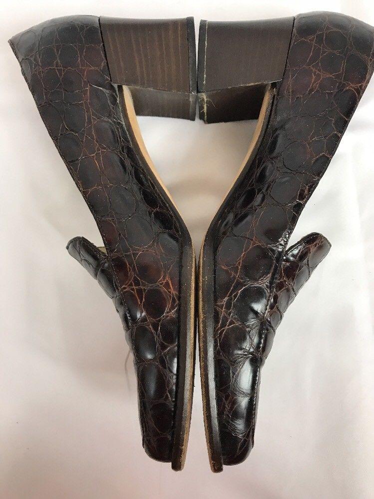 25887a4d67f Sesto Meucci Women Croc Embossed Shoes Size 8N Medium Slip Ons Pumps Block  Heel