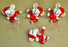 Vintage- Lot of 4 Christmas Mouse Candle Climbers - $19.79
