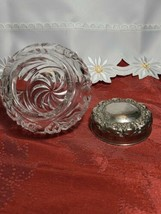 "EAPG Dresser Powder Jar with Metal Lid and Flower Design 4"" x 4"" x 4"" image 2"