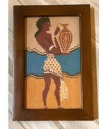 Vintage Cross stitch of Egyptian man holding vase finished framed wall art - $55.00