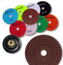"KENT 10pcs WET 4"" Premium Quality 4mm Thick Diamond Polishing Pads 5/8-11 Holder - $90.09"