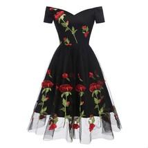 Vintage Style Floral Print Patchwork Short Sleeve Big Skirt Dress - $51.95