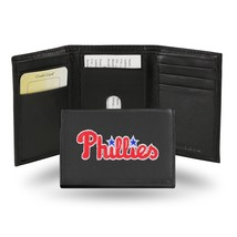 Philadelphia Phillies Wallet Embroidered Trifold Official MLB Leather Black - $33.45