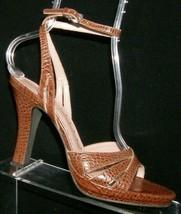 Franco Sarto brown animal print peep toe sandal ankle strap platform heel 8.5M - $32.27