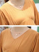 Maternity's Dress V Neck Long Sleeve Solid Color Ladylike Dress image 5