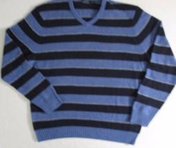 Nautica Men Sweater 2XL Blue StripeV Neck  Long Sleeve Merino Wool 1700E - $26.99