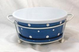Temptations 2013 Polka Dot Blue 1.5 Qt Baker Plastic Lid Trivet  Metal S... - $18.22