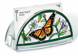 Business Card Holder Flowers Butterfly Acrylic New Green Orange Black - $16.48