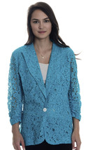 NWT! S Karen Kane Azu Teal Blue South Beach Shirred Sleeve Lace Unlined ... - $44.55