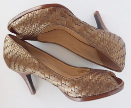 Woven 1 Gold Toe Shoes 2 Leather 8 8 Heels 5 Open CARMA COLE HAAN Pumps Size qfwx6Y