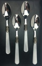 Eme NAPOLEON Small Tea Spoons Stainless PEARL WHITE Italy Glossy 18/10 S... - $19.27