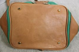 Gorgeous Valentina Green & Brown Leather Backpack Bag Purse Made Italy image 5