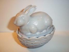 Mosser Glass Grey Brown Marble Swirl Bunny Rabbit on Nest Basket Candy Dish Box - $19.86