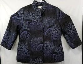 Chicos Womens Plus Size 2 Purple Black Paisley Floral 3/4 Sleeve Blazer - $22.12