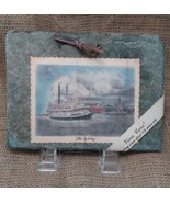 Steamboat Natchez Drawing on a Vieux Carre' Roofing Slate about 175 Year... - $12.99