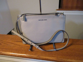 Authentic Michael Kors Large Double Pouch Crossbody Pearl Grey Black Lea... - $113.84