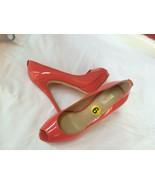 Michael Kors Women Patent Coral Open Toe Heel Sandals Shoes  size 9 New - $79.19