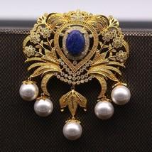 Vintage Flower Pearl Lapis Lazuli Cubic Gold Brooch Pin Pendant Women Je... - $34.40