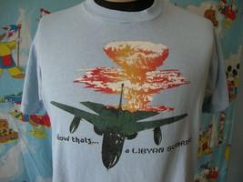 Vintage 80's Libyan Sunrise Military Fighter Jet Moammar Khadafy T Shirt L  - $32.67