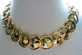 "Monet Necklace Gold Plated Bib Bold Circle Links 18"" Designer Nice Vintage - $24.74"