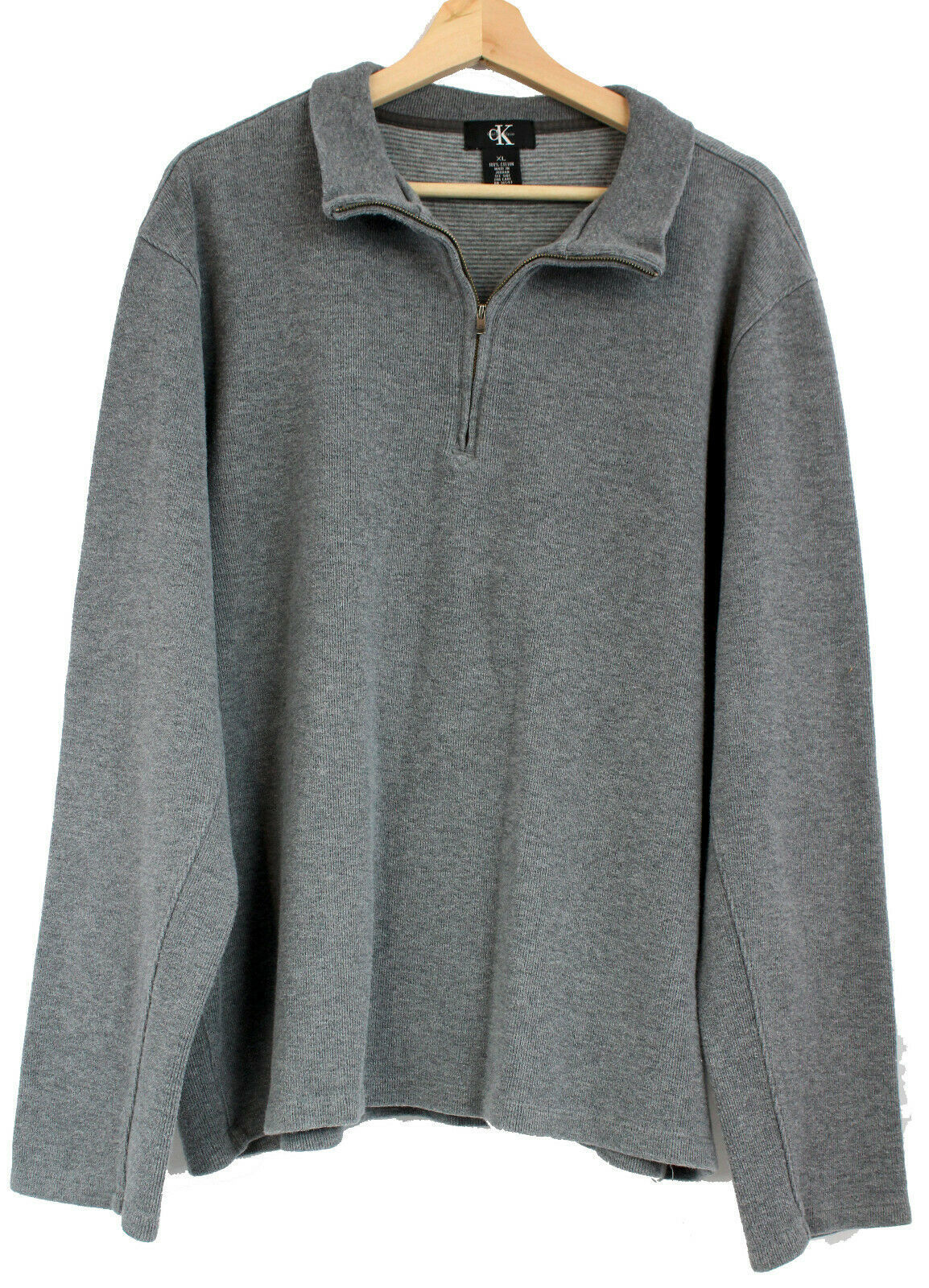 Primary image for Calvin Klein Mens Classic Cotton Quarter-Zip Pullover Sweater Heather Gray XL