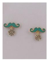New Green Rhinestone Mustache Shape Fashion Earrings - $7.92