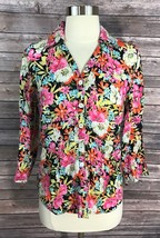 Talbots Shirt Womens Size 4 Linen Colorful Button Up Floral 3/4 Sleeve Top - $9.89