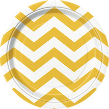 "Luncheon Plates 7"" 8/Pkg-Sunflower Yellow Chevron - $1.97"