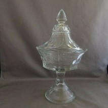 Strawberry And Cable Northwood Glass Co Clear Compote With Lid c early 1... - $5.00