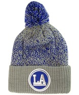 Los Angeles LA Patch Cuff Knit Pom Beanie Winter Hat (Gray/Royal) - $12.75